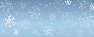 Flocos de neve nevados do fundo do inverno no céu azul ilustração do vetor