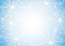 Flocos de neve no fundo azul ilustração stock