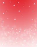 Flocos de neve no fundo vermelho ilustração do vetor