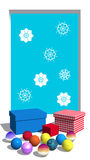 Flocos de neve no indicador e nos presentes ilustração stock