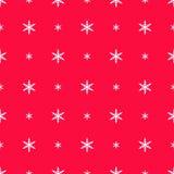 Flocos de neve no teste padrão de às bolinhas no vermelho Imagens de Stock