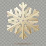 Flocos de neve de papel da decoração do Natal do vintage com a sombra isolada no fundo transparente Eps 10 ilustração royalty free