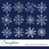 Flocos de neve para a arte -final do projeto ilustração royalty free