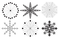 6 flocos de neve preto e branco em um fundo branco Fotografia de Stock