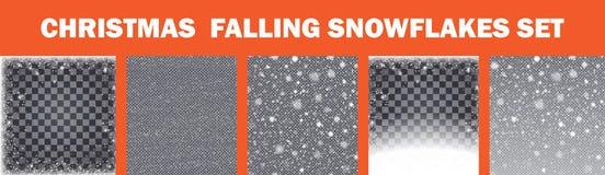 Flocos de neve de queda realísticos ajustados Isolado no fundo transparente Ilustração do vetor fotografia de stock