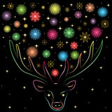 Flocos de neve Shinning coloridos entre Deer& x27; chifres de s Silhueta colorida arco-íris tirada mão da rena Fotos de Stock Royalty Free