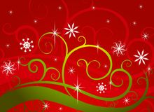 Flocos de neve verdes vermelhos do país das maravilhas do inverno Imagem de Stock Royalty Free