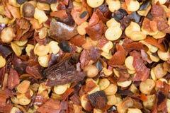 Flocos de pimenta vermelha Imagens de Stock