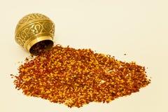 Flocos dos pimentões e bacia da especiaria Fotos de Stock Royalty Free