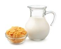 Flocos e leite de milho Imagem de Stock