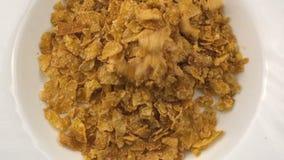 Flocos secos doces do milho video estoque