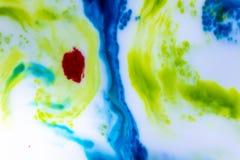 Flocs abstraits d'encre de couleur primaire photos libres de droits