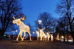 Floculation d'orignaux de Noël faite en lumière menée Photo stock