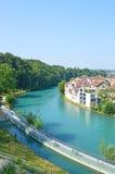 Flod Aare, Bern, Schweiz Royaltyfria Bilder
