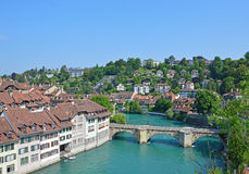 Flod Aare, Bern, Schweiz Arkivbilder