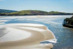 Flod Afon Dwyryd i Snowdon, Wales Arkivbilder