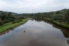 Flod av Gauja och skogar från över arkivbild