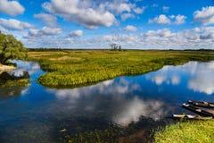 Flod Biebrza, Podlasie-Polen Royaltyfri Fotografi