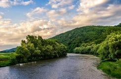 Flod bland skogen i pittoreska Carpathian berg i su Royaltyfria Bilder