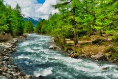 Flod bland träden i Aosta Valley Royaltyfria Bilder