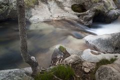 Flod Cambrones i La Granja de San Ildefonso segovia Royaltyfria Foton