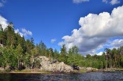 Flod Chirko-Kem Karelia Ryssland Arkivfoto