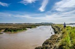 Flod Deben och bred flodmynning Arkivfoton