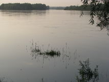 Flod efter solnedgång Royaltyfri Bild