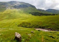 Flod Etive nära Glen Coe, Skotska högländerna, Skottland, Förenade kungariket Royaltyfri Bild