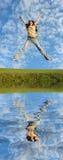flod för flickahårhopp arkivfoto