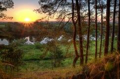 flod för gryningfiskemorgon royaltyfri bild