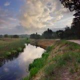 flod för gryningfiskemorgon Arkivbild