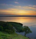 flod för gryningfiskemorgon Royaltyfria Foton