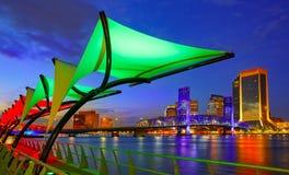 Flod för Jacksonville horisontsolnedgång i Florida Royaltyfri Fotografi