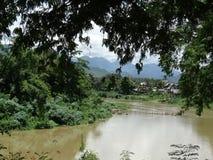 flod för laos luangmekong prabang Royaltyfria Foton