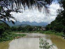 flod för laos luangmekong prabang Arkivbilder