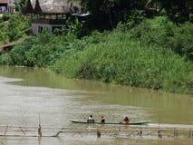 flod för laos luangmekong prabang Arkivfoton