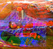 flod för målning för skogliggandeolja Royaltyfri Bild