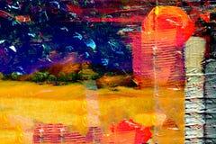 flod för målning för skogliggandeolja Royaltyfria Bilder