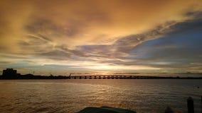 Flod för Manatee för Florida sydvästlig solnedgångsikt Arkivfoto