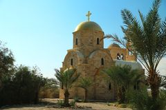 Flod för St John The Baptist Church Jordan, Hashemite kungarike av Jo arkivbilder