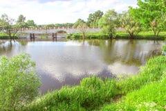 Flod gräsplan, vatten Arkivfoton