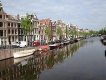 Flod i amsterdam Arkivbild