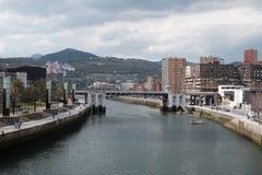 Flod i Bilbao royaltyfri foto