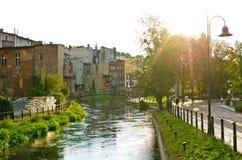 Flod i Bydgoszcz, Polen Arkivfoto