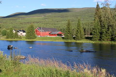 Flod i bygden av Norge, Europa, i aftonljus Royaltyfri Fotografi