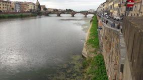 Flod i den Florence staden Arkivfoto