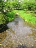 Flod i den Kenrokuen trädgården, Japan Arkivfoton