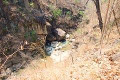 Flod i dipterocarpskogen på den Op Luang nationalparken som är varm, Chiang Mai, Thailand arkivbilder