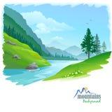 Flod i en dal royaltyfri illustrationer
